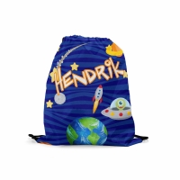 Personalized Space Ship UFO Kids Drawstring Backpack