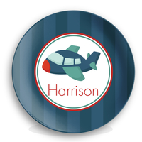Personalized Kids Melamine Plate - Airplane