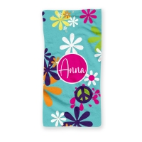 Hippie Chick Peace Sign Personalized Beach Towel