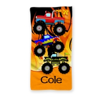 Monster Trucks Personalized Kids Beach Towel