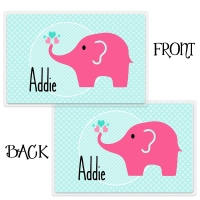 Pink Elephant Cute Personalized Kids Placemat