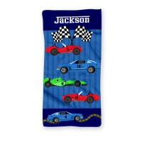 Race Cars Personalized Kids Beach Towel