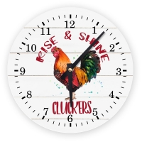 Rooster Decorative Wall Clock -  Rise & Shine Cluckers!