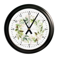 Spring Wreath Decorative Wall Clock- Vintage Black Frame