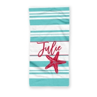 Starfish Stripes Personalized Beach Towel
