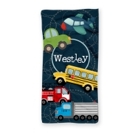 Transportation Personalized Kids Beach Towel