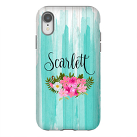Turquoise Washed  Wood Floral Personalized Phone Case
