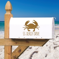 Beach Drive Crab Personalized Address Vinyl Mailbox Decal