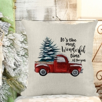 Christmas Red Truck Poly/Linen Pillow Cover Christmas Decor