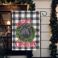 Christmas Wreath Buffalo Plaid Garden Flag