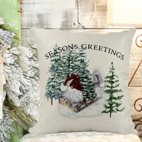 Seasons Greetings Gnome Throw Pillow