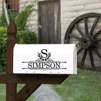 Antlers Monogram Name Mailbox Decal