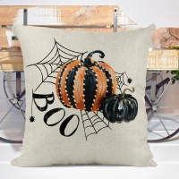Boo! Pumpkins & Spider Halloween Poly/Linen Pillow Cover Halloween Decor