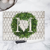 Farmhouse Boxwood Wreath Personalized Cutting Board
