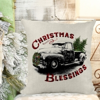 Christmas Blessings Poly/Linen Pillow Cover Christmas Decor