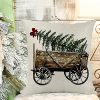Christmas Wagon & Tree Poly/Linen Pillow Cover Christmas Decor