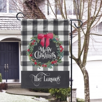 Christmas Wreath Buffalo Plaid Personalized Garden Flag