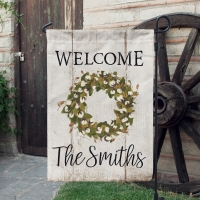 Cotton Wreath Faux Wood Farmhouse Decor Garden Flag