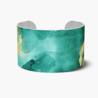 Emerald & Gold Watercolor Cuff Bracelet - Custom Cuff Bracelet