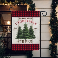 Farm Fresh Trees Red Buffalo Plaid Christmas Garden Flag