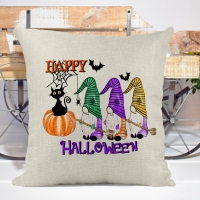 Happy Halloween Poly/Linen Pillow Cover Halloween Decor
