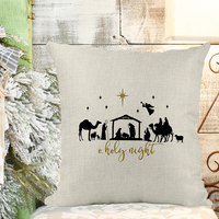 O' Holy Night - Nativity Poly/Linen Pillow Cover Christmas Decor