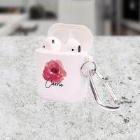 Personalized Pretty Poppy Floral Apple AirPods Case