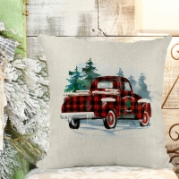 Christmas Red Truck Buffalo Plaid Poly/Linen Pillow Cover Christmas Decor