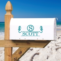 Seahorse Monogrammed Personalized Vinyl Mailbox Decal