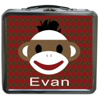 Sock Monkey Personalized Boys Lunchbox