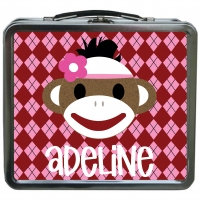 Sock Monkey Personalized Girls Lunchbox