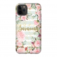 Pink Peonies Mint Stripe Personalized Phone Case