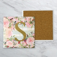 Sweet Peonies Mint Stripe Personalized Farmhouse Coaster Set