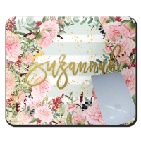 Sweet Peonies Mint Stripe Personalized Mousepad