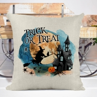 Trick or Treat Witch Poly/Linen Pillow Cover Halloween Decor