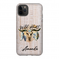 Wild Heart Faux Wood Personalized Phone Case