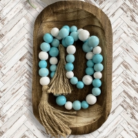 Turquoise & White Wooden Beaded Farmhouse Garland
