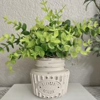 Distressed Mini Boxwood Jar Tiered Tray Decor