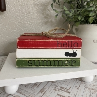 Hello Summer Mini Book Stack Tiered Tray Decor