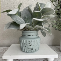 Distressed Mini Faux Lambs Ear Jar Tiered Tray Decor