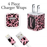 Pink Leopard Print Personalized iPhone Charger Wraps
