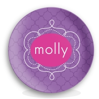 Preppy Petals Girls Personalized Plate