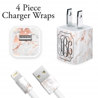 Rose Gold & White Marble Print Charger Wrap