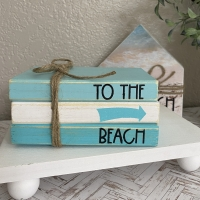 To The Beach Mini Book Stack Summer Tiered Tray Decor