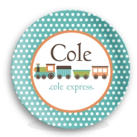 Train Boys Personalized Microwave Safe Plate