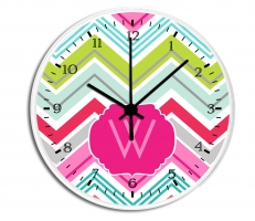 Chevron Personalized Decorative Wall Clock - Boys or Girls Personalized Clock