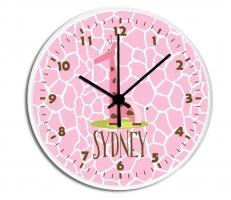 Giraffe Girl Personalized Clock