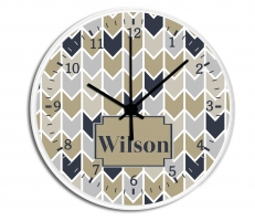 Herringbone Personalized Decorative Wall Clock - Boys or Girls Personalized Clock