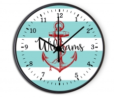 Nautical Anchor Personalized Decorative Wall Clock - Boys or Girls Personalized Clock