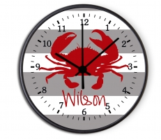 Nautical Crab Personalized Decorative Wall Clock - Boys or Girls Personalized Clock